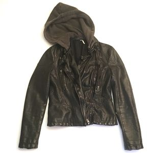Free People Black Vegan Leather Moto Jacket w/Hood